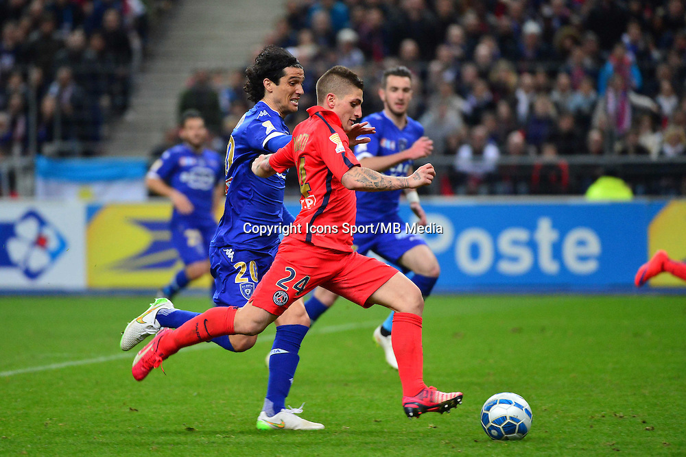 Marco VERRATTI / Francois MODESTO    - 11.04.2015 -  Bastia / PSG - Finale de la Coupe de la Ligue 2015<br />