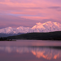 Pink sunrise at Mount McKinley, Wonder Lake, Denali National Park Preserve, Alaska, USA
