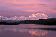 Pink sunrise at Mount McKinley, Wonder Lake, Denali National Park Preserve, Alaska, USA