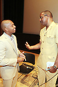 May 19, 2012 -New York, NY-United States:  (L-R) Dr. Khalil Gibran Muhammad and Phographer Jamel Shabazz attend the Question Bridge: Black Male Blue Print Round Table moderated by Dr. Khalil Gibran Muhammad and hosted by Kevin Powell and held at the Iris and B.Gerald Cantor Auditorium in the Brooklyn Museum on May 19, 2012 in Brooklyn, New York. Question Bridge: Black Males is a transmedia art project that seeks to represent and redefine Black male identity in America. Question Bridge: Black Males was created by Chris Johnson and Hank Willis Thomas in collaboration with Bayeté Ross Smith and Kamal Sinclair. The Executive Producers are Delroy Lindo, Deborah Willis and Jesse Williams. (Photo by Terrence Jennings)