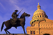Image of the State Capitol and Texas Rangers statue in Austin, Texas, American Southwest