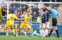 Queen of the South's Bob McHugh (9) cele scoring their goal.<br /> Half time : Falkirk 0 v 1 Queen of the South, Scottish Premiership play-off quarter-final second leg played today at the Falkirk Stadium.<br /> &copy; Michael Schofield.