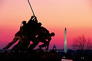 Virginia, United States Marine Corps War Memorial stands on a promontary at the north end of Arlington National Cemetery