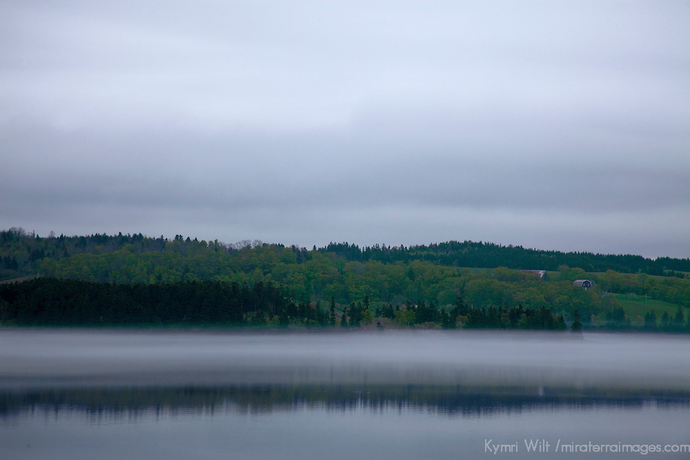 North America, Canada, Nova Scotia, Guysborough. Fog layer in Guysborough Harbour.