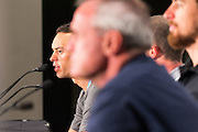 Media Conference with  (L-R) Richie Porte (BMC Racing Team), Santos Tour Down Under Race Director, Mike Turtur, Peter Sagan (Bora Hansgrohe)Tour Down Under, Australia on the 14 of January 2017 ( Credit Image: © Gary Francis / ZUMA WIRE SERVICE )