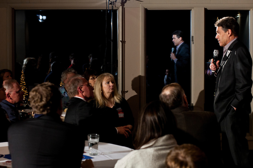 Republican presidential candidate Rick Perry speaks at a Cerro Gordo County GOP Fundraiser on Friday, December 30, 2011 in Mason City, IA.
