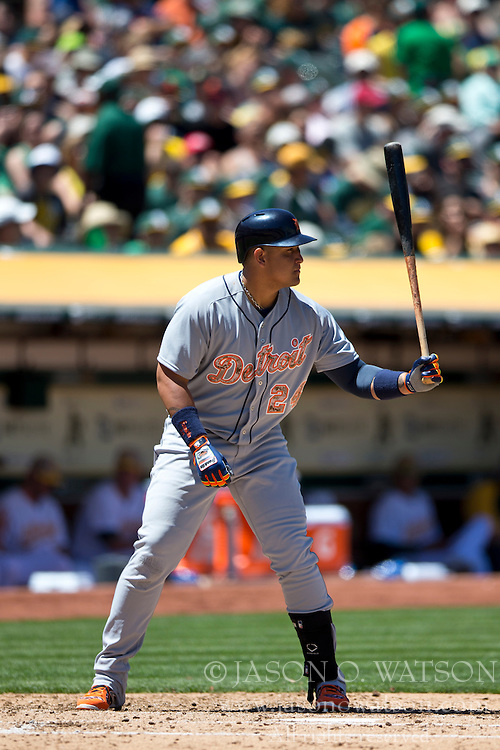 OAKLAND, CA - MAY 26:  Miguel Cabrera #24 of the Detroit Tigers at bat against the Oakland Athletics during the fourth inning at O.co Coliseum on May 26, 2014 in Oakland, California. The Oakland Athletics defeated the Detroit Tigers 10-0.  (Photo by Jason O. Watson/Getty Images) *** Local Caption *** Miguel Cabrera