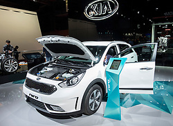 View of new Kia Niro hybrid Crossover vehicle at Paris Motor Show 2016