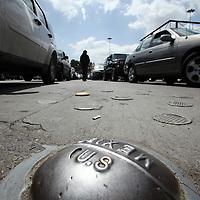 A marker shows where the international border lies between San Diego, California and Tijuana Mexico on April 30, 2010. (Photo/Scott Dalton)