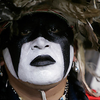 "Gerard Moses Goudy of the Yakima tribe in Washington state watches the Denver March Pow Wow in Denver, Colorado March 23, 2007. Goudy represented the ""Wounded Warriors"" non-profit group working to restore Natives cultural identity. The March Pow Wow brings thousands of Native American Indians together in a celebration of their culture. REUTERS/Rick Wilking (UNITED STATES)"