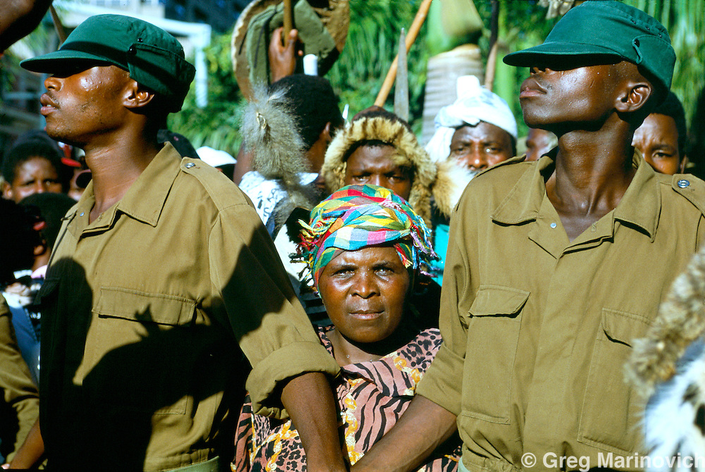 Inkatha Freedom Party militants or SPU's at  a rally in Durban, South Africa, 1994