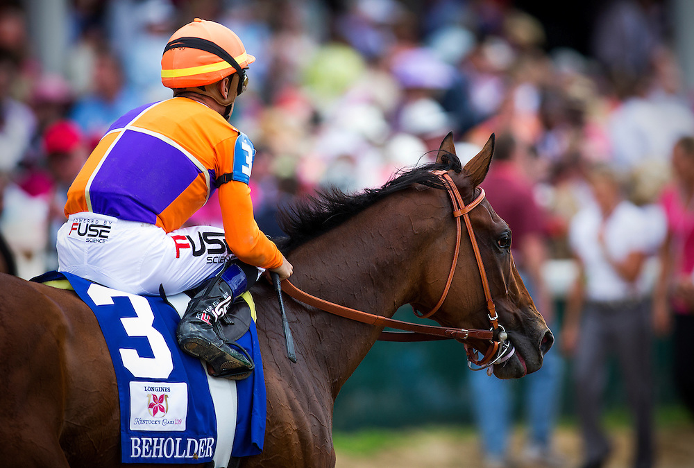 Beholder with Garrett Gomez up after the Kentucky Oaks at Churchill Downs in Louisville, KY on May 03, 2013. (Alex Evers/ Eclipse Sportswire)
