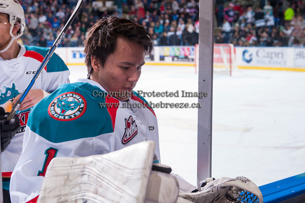 KELOWNA, CANADA - APRIL 30: James Porter #1 of the Kelowna Rockets exists the ice after first period against the Seattle Thunderbirds on April 30, 2017 at Prospera Place in Kelowna, British Columbia, Canada.  (Photo by Marissa Baecker/Shoot the Breeze)  *** Local Caption ***