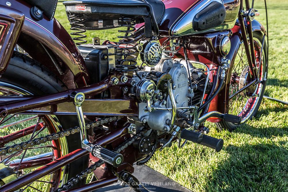 1934 Moto Guzzi GTS 500, closeup detail, at the 2012 Santa Fe Concorso.