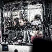 Bus window on rainy day