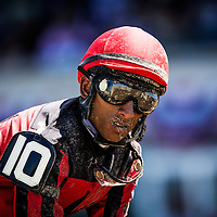 June 07, 2014: Rajiv Maragh covered with dirt at Belmont Park in Elmont New York. Alex Evers/ESW/CSM