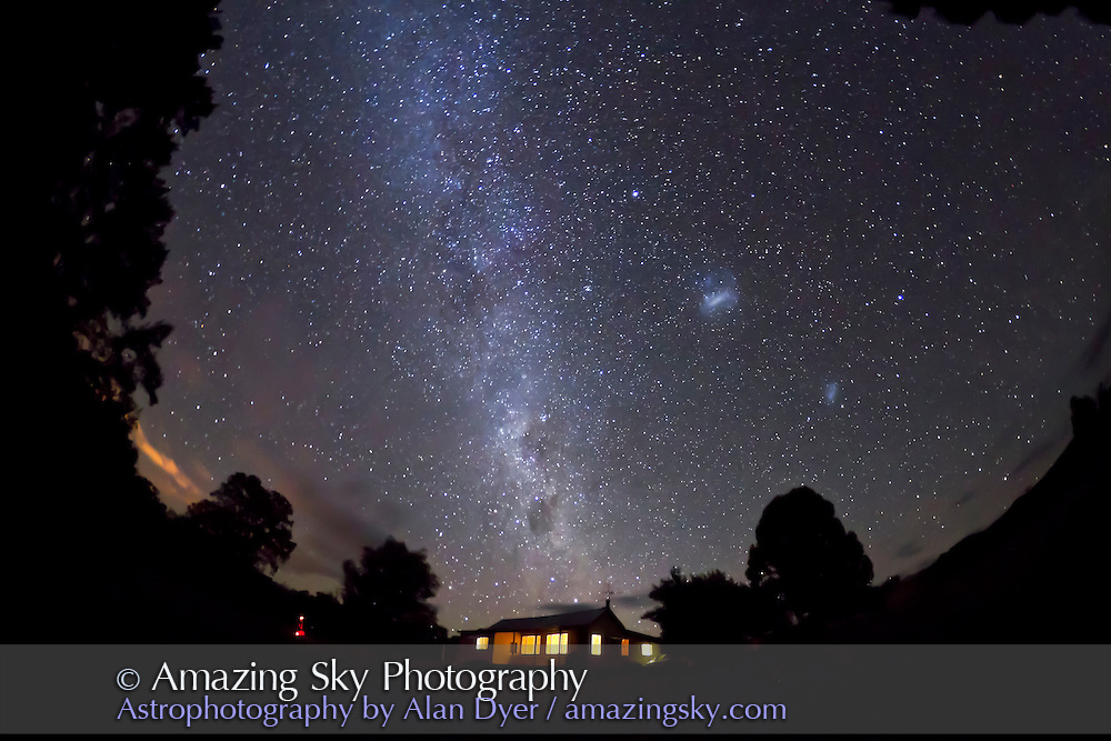 Southern Milky Way over Timor Cottage, near Coonabarabran, NSW, Australia, December 12, 2010. Taken with Canon 7D camera and 8mm Sigma fish-eye lens, for 60 seconds at f/3.5 and ISO 3200.