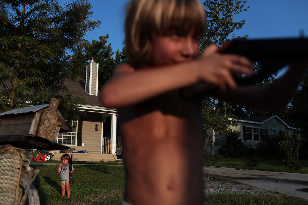 Morgan Serigne, 6, and his brother Joseph Serigne, 1, at their home in Poydras, LA on July 30, 2010.