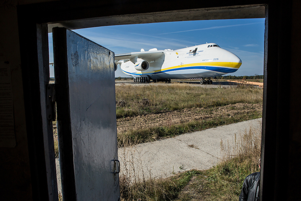GOSTOMEL, UKRAINE - OCTOBER 1, 2014: The Antonov AN-225, the longest and heaviest airplane ever built, seen from a trailer used by maintenance workers on an airfield in Gostomel, outside Kiev, Ukraine. CREDIT: Brendan Hoffman for The New York Times