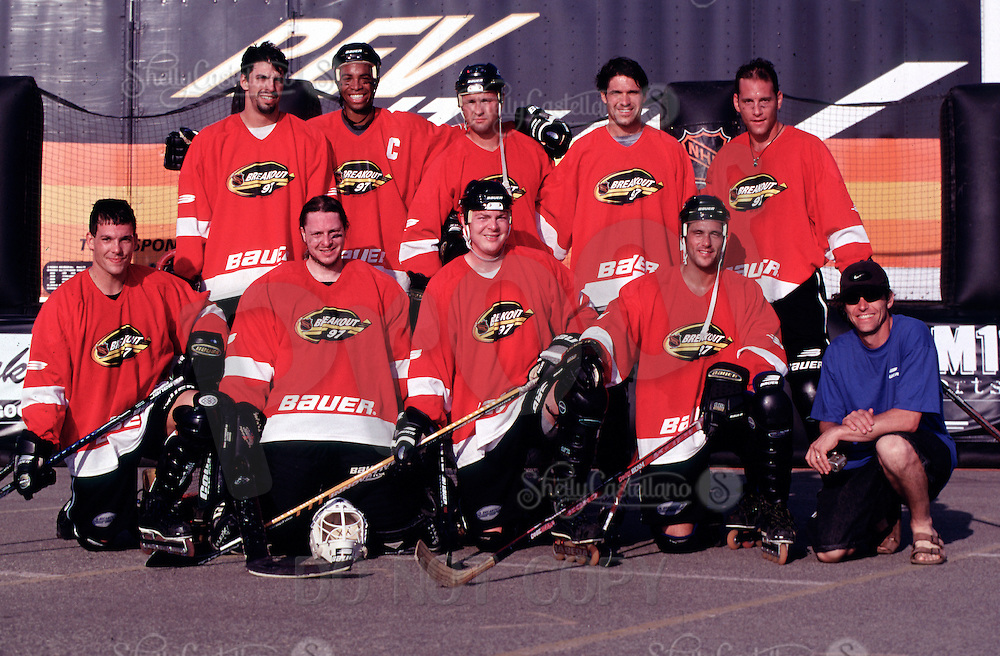 1997:  Former RHI players participate in the 1997 NHL Breakout grass roots roller hockey program in Santa Monica, CA.  Eric Rice, Chris Nelson, Brian Joy, Pat Brisson, Craig Forrest, Eric LeMarque, Rick Plester, Mike Doers, Stefan Desjardins