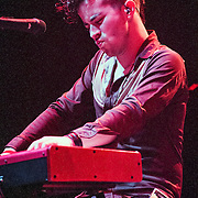 David Fralin, keyboardist for the Hudson Moore band, performing at ACL Live at the Moody Theater, Austin, Texas, January 31, 2015.