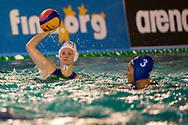 4 Elisa QUEIROLO ITA 3 Dorotya SZILAGYI HUN<br /> ITA v HUN Italy (white cap) versus Hungary (blue cap)<br /> FINA Women Water Polo World League qualification round<br /> Avezzano (AQ) Italy ITA Piscina Comunale Avezzano <br /> Centro Italia Nuoto  Unipol<br /> April 18th, 2017 <br /> Photo &copy;D.Montano/Deepbluemedia/Insidefoto
