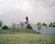 The statue of the parents of Francisco el Pocero, constructor of the Residencial Francisco Hernando in Sesena, Spain. El Pocero planned to build the biggest housing development  in Spain's with 13,508 homes. However, only 5,096 houses have building permit, and only 750 people have been registered so far in Sesena.