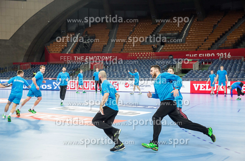 Vid Kavticnik of Slovenia and Borut Mackovsek of Slovenia during practice session of Team Slovenia on Day 1 of Men's EHF EURO 2016, on January 15, 2016 in Centennial Hall, Wroclaw, Poland. Photo by Vid Ponikvar / Sportida