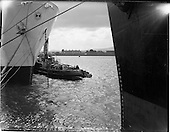 "1962 Ships and Tug in Collission: While bringing the U.S Lines ""American Veteran"" to its berth at Al"