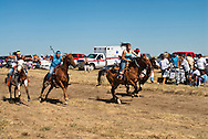 Fort Belknap Indian Reservation, Montana, Milk River Memorial Horse Races, Womens Two Mile Race, start.