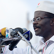 Convention People's Party (CPP) presidential candidate Paa Kwesi Nduom addresses the crowd during a rally in Accra, Ghana on Sunday September 21, 2008.