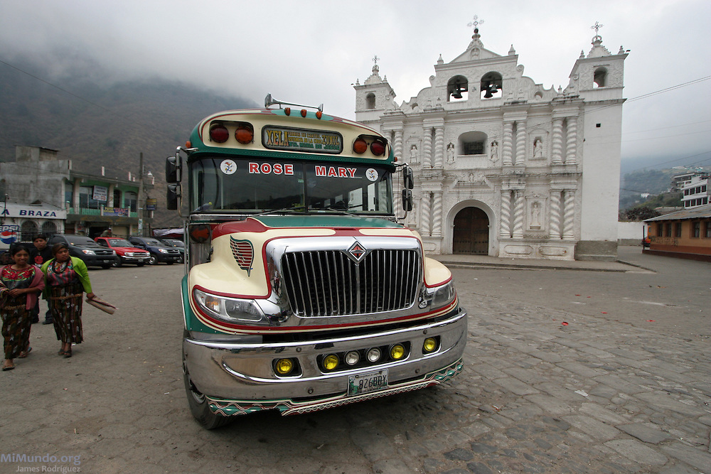 Former North American school buses are used as the principal method of transport in Guatemala. Known as camionetas, these buses are often baptized with the names of family members. This particular one is called Rose Mary. Zunil, Quetzaltenango, Guatemala, 2008.