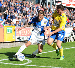 Stuart Sinclair of Bristol Rovers tussles with Adam Buxton of Accrington Stanley - Mandatory by-line: Paul Knight/JMP - Mobile: 07966 386802 - 12/09/2015 - FOOTBALL - Memorial Stadium - Bristol, England - Bristol Rovers v Accrington Stanley - Sky Bet League Two