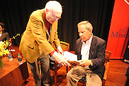 H. Brandt Ayers (left) and Ben Bradlee Jr. talk before a journalism forum, at the Oxford Conference for the Book, in Oxford, Miss. on Wednesday, March 26, 2014.