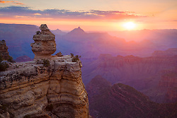 Sunrise near the 'Duck on a Rock' formation on the South Rim of Grand Canyon National Park.