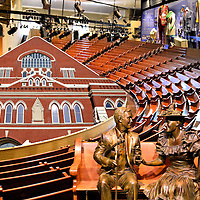 Nashville, Tennessee Composite of Three Photos<br /> Three photos of Nashville, Tennessee are all located in the Ryman Auditorium. This was the original Grand Ole Opry House from 1943 until 1974. The historical entertainment center is called &ldquo;The Mother Church of Country Music.&rdquo; It was built in 1892 as the Union Gospel Tabernacle. These photos include: 1) The Ryman Auditorium&rsquo;s exterior; 2) The original wooden pews in the balcony and the stage costumes from famous performers; and 3) The bronze statue of Minnie Pearl and Roy Acuff sitting on a bench in the lobby.