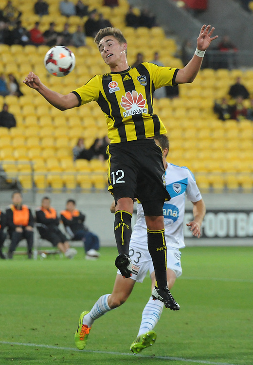 Phoenix's Tyler Boyd attempts against  header at goal against the Melbourne Victory FC in the A-League football match at Westpac Stadium, Wellington, New Zealand, Saturday, Januray 18, 2014. Credit:SNPA / Ross Setford