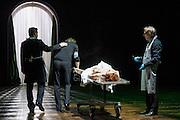 31/10/2012. London, UK. One of the international highlights of the Barbican Theatre's 2012 programme, Poland's TR Warszawa return to the Barbican on Halloween with Grzegorz Jarzyna's production of Nosferatu. Picture shows Sandra Korzeniak (Lucy), Jan Englert (Doctor John Seward), Jan Frycz (Abraham Van Helsing) and Adam Woronowicz (Arthur Holmwood).