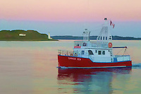Canada Sea Fishing Boat on the Halifax Harbor at Sunset. Image taken with a Leica V-Lux 30 camera (ISO 400, 13.6 mm, f/4.7, 1/80 sec). Image processed with Capture One Pro 6, Photoshop CS6, and the Topaz Painterly filter.
