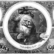 "Detail: 1865 ""Merry Christmas to All""  Christmas with Santa Claus by Nast. Also feature kids with toys and families celebration both Christmas and the end of the war. Early Nast Christmas Illustration at the end of the Civil War. Harper's Weekly December 1865."