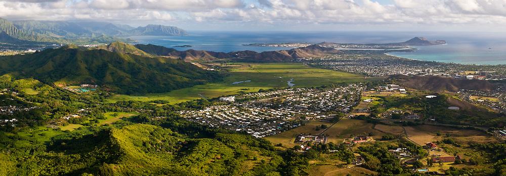 Panorama of Kaneohe Bay, Mokapu Peninsula (Marine Base Hawaii), & Kailua Bay on the Windward (East) side of Oahu, Hawaii