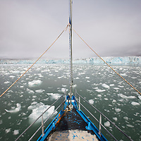Norway, Svalbard, Spitsbergen Island, The sailing yacht SV Arctica sails through icebergs floating in sea near face of glacier in Burgerbukta Bay on summer morning