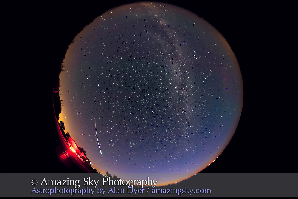 Bright meteor captured during all-sky time-lapse sequence night of June 11/12, 2010. Exposure was 2 minutes at f/4 and ISO800, with Canon 5D MkII and 8mm Sigma fish-eye lens.