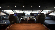An interior shot of the bridge of the Sunseeker 131 at the London Boat Show 2016, the largest vessel ever to attend the show.<br /> Picture date: Friday January 8, 2016.<br /> Photograph by Christopher Ison &copy;<br /> 07544044177<br /> chris@christopherison.com<br /> www.christopherison.com