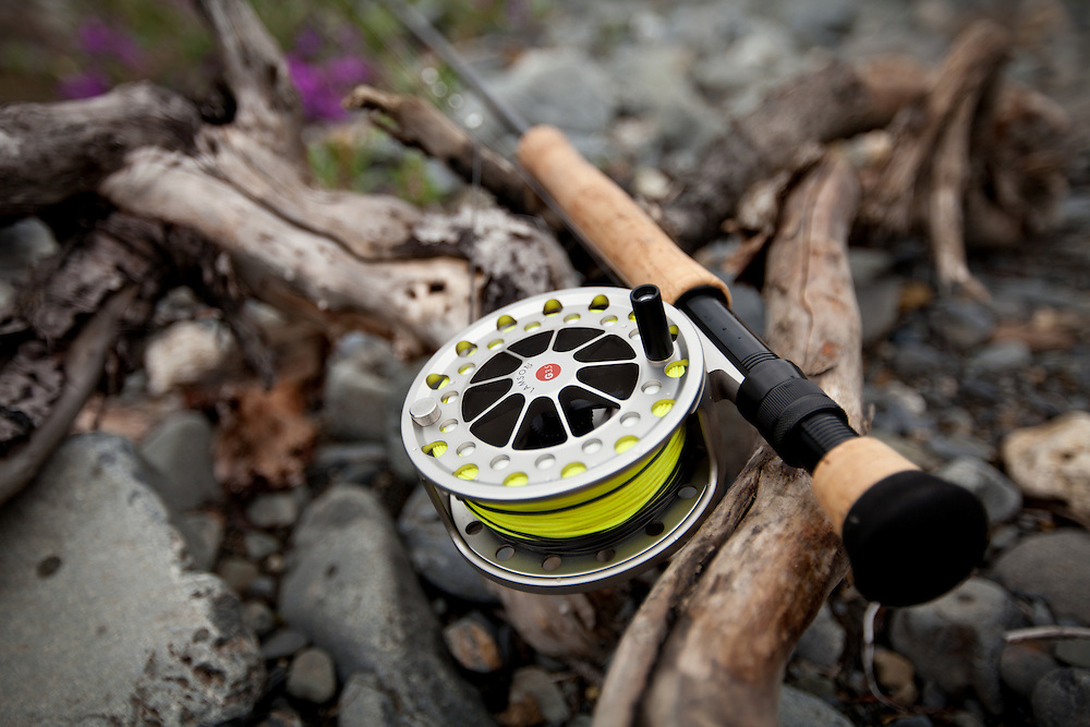 close up detail of Lamson, Guru reel with sink tip line on a 10 weight fly rod