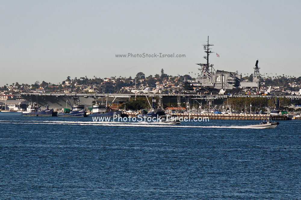 USA, California, San Diego The Pacific Fleet USS Midway aircraft carrier in the Harbour