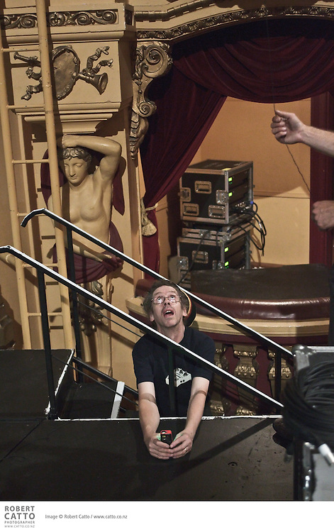 Construction of the set for Sutra takes place at the St James Theatre, one of the venues in the New Zealand International Arts Festival in Wellington.