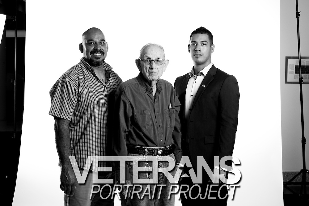 Martin Torres Jr. <br /> Army<br /> E-3<br /> Medical Aideman<br /> 1943 - 1946<br /> WWII (Europe)<br /> D-Day France<br /> <br /> Michael Torres<br /> Marine Corps<br /> E-4<br /> CH53E Helicopter  Mechanic<br /> Sept. 2008 - Aug. 2013<br /> OEF<br /> <br /> Veterans Portrait Project<br /> Colorado Springs, CO San Antonio, Texas