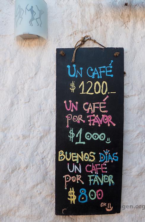 Sign at a cafe in San Pedro de Atacama, Chile