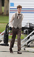 "April 14th, 2010 Los Angeles, CA. ***Exclusive*** Milla Jovovich and William H. Macy are the bride and groom as they prepare to film a wedding scene together for ""Dirty Girl"" starring British actress Juno Temple who was seen hanging out by her trailer. Macy was spotted brushing his teeth before going to set to kiss Jovovich in the wedding scene. Macy was also seen playing a miniature guitar during filming breaks. Photo by Eric Ford/ On Location News. 818-613-3955. info@onlocationnews.com"